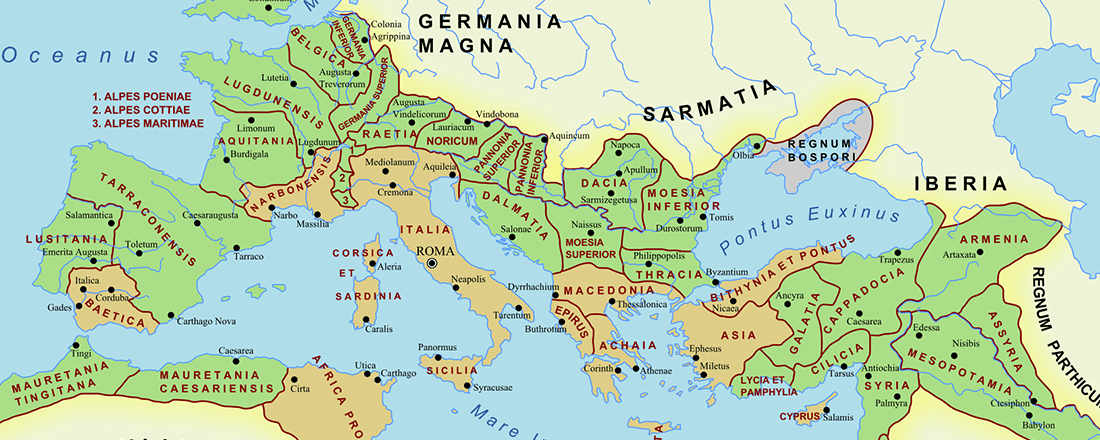 Roman Empire in 117 A.D. (Source: Ancient History Encyclopedia)