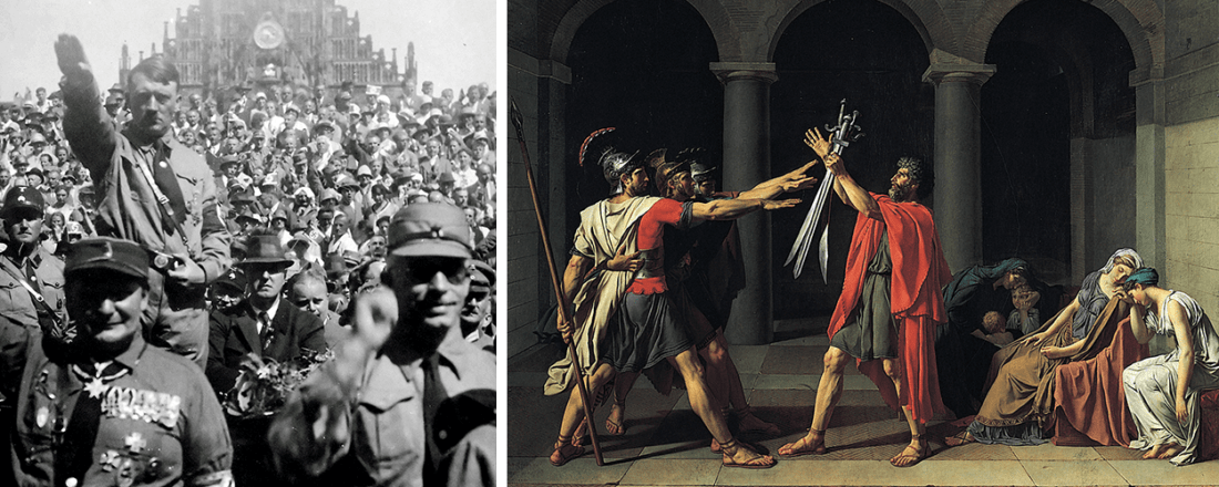 """The Nazi salute on the left; """"The Oath of the Horatii"""" by Jacques Louis-David (Source: Various/Wikimedia Commons)"""