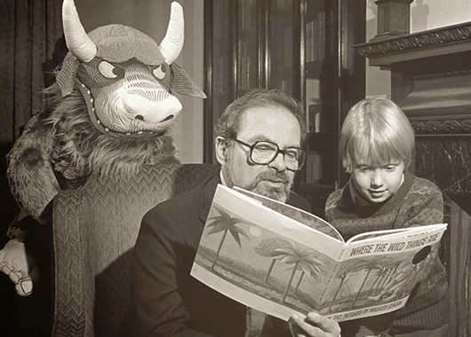 """Maurice Sendak, reading from his book """"Where the Wild Things Are"""" (Source: Self-Styled Siren)"""