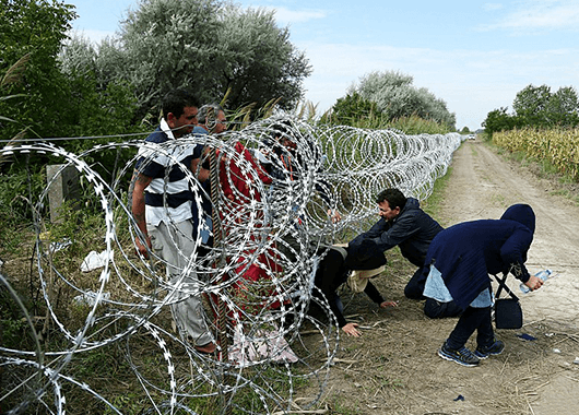 Refugees smuggling through the Hungary-Serbia border fence (Source: Wikimedia Commons)