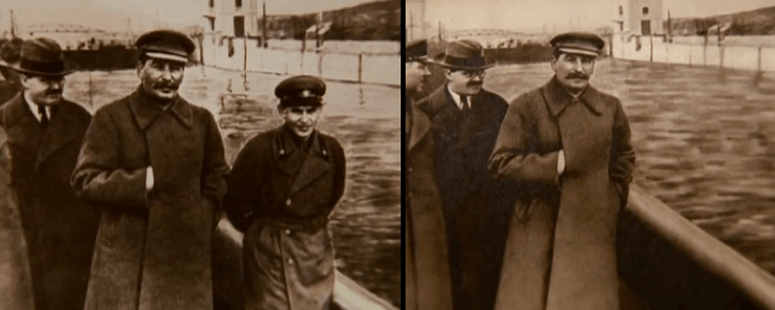 The infamous doctored photo from the Stalin era (Source: Business Insider)