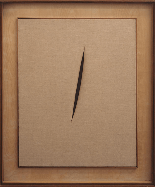 Spatial Concept 'Waiting' by Lucio Fontana, cut on canvas, 1960 (Source: Tate)