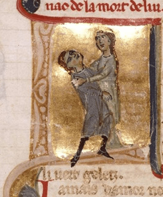 Jaufre Rudel in the arms of his lover, Countess Hodierna of Tripoli (Source: Wikimedia Commons)