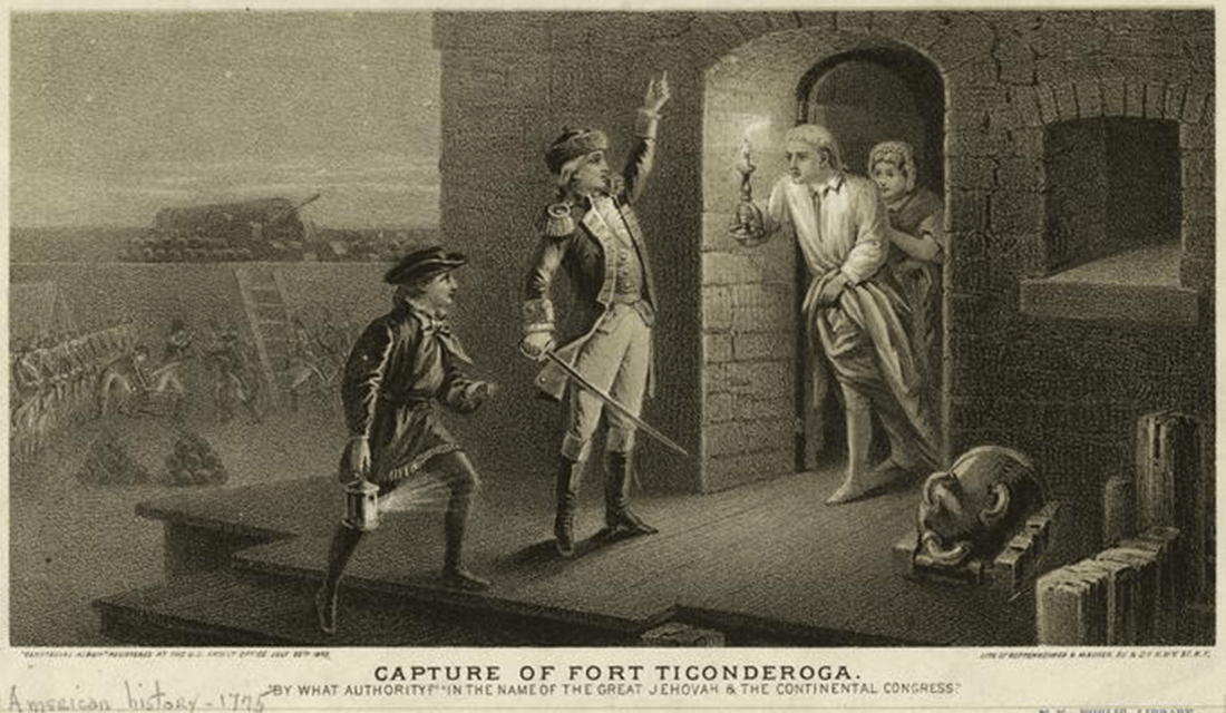1875 Engraving of the Capture Fort Ticonderoga by Ethan Allen on May 10, 1775 (Source: New York Public Library/Wikimedia Commons)