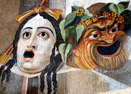 Tragic and Comic Masks of Ancient Greek Theatre (Source: Wikimedia Commons)
