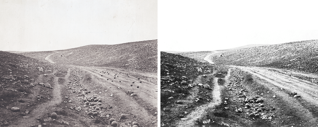 """Both versions of Roger Fenton's """"Valley of the Shadow of Death"""" (Source: Wikimedia Commons)"""