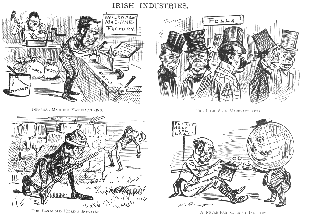 Cartoon Depicting Irish Discrimination (Source: Irish Memory/Blogspot)