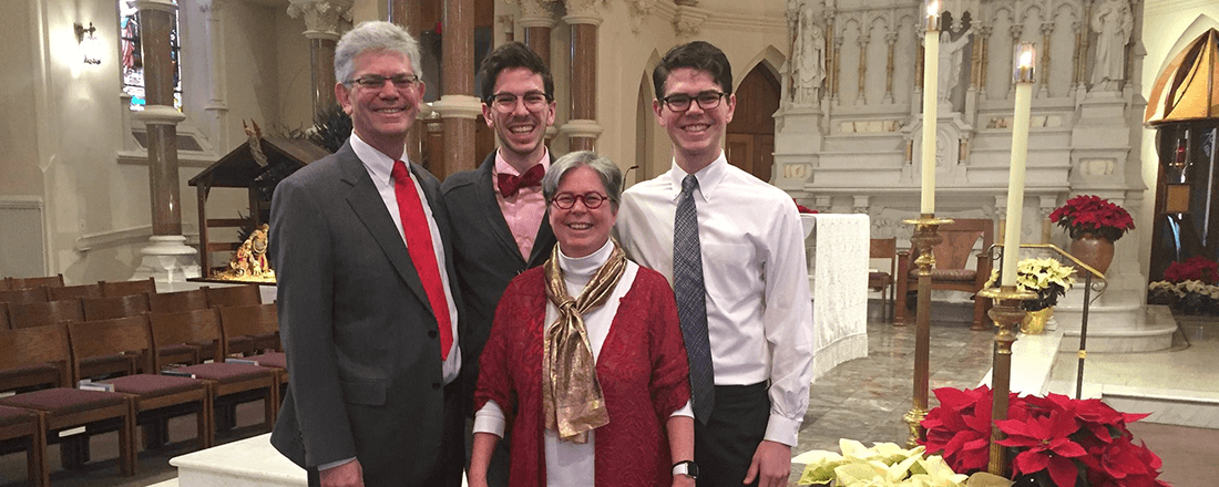 The Donnay family after Christmas Mass, 2016 (Source: Michael Donnay)