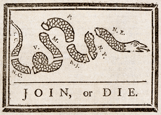 "Benjamin Franklin's infamous ""Join or Die"" cartoon from 1754 (Source: Wikimedia Commons)"