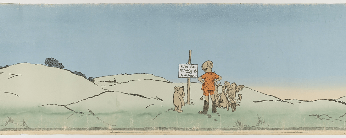 "Illustration titled ""Christopher Robin Leads an Expotition to the North Pole,"" from Chapter 8 of ""Winnie the Pooh,"" by E.H. Shepard (Source: Google Art Institute)"