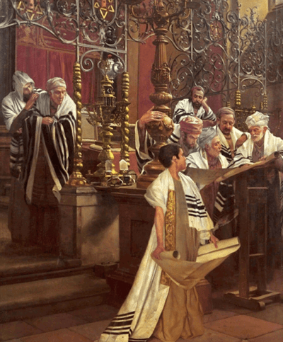 "1929 oil painting by Oscar Rex titled ""Bar Mitzvah in a Synagogue"" (Source: Wikipedia)"
