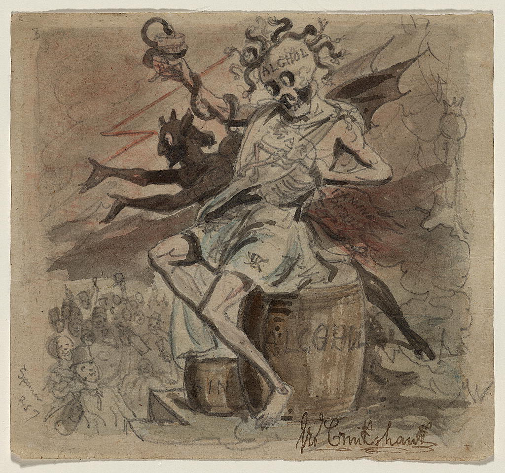 "c. 1830-1840 drawing titled ""Alcohol, Death, and the Devil"" by George Cruikshank (Source: Library of Congress)"