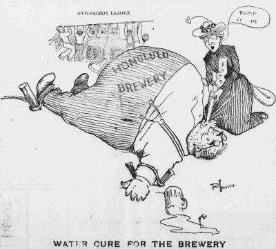 Hawaiian Gazette cartoon from 1902, depicting both the Anti-Saloon League and the Women's Christian Temperance Union (Source: University of Hawaii at Manoa Library/Wikimedia Commons)