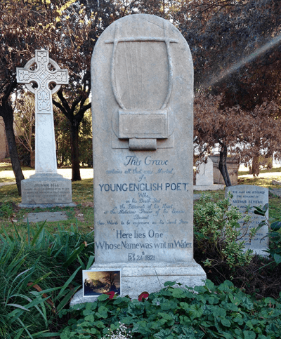 John Keats' tombstone in the Protestant Cemetery in Rome (Source: Katie Rosengarten)