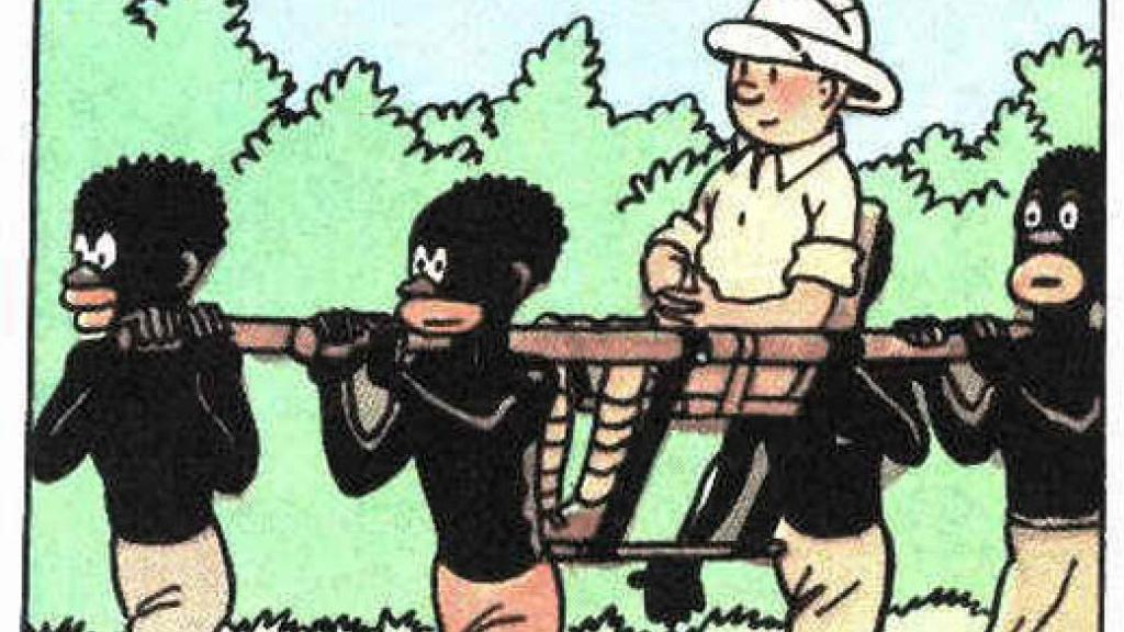 """A panel from the problematic and racist """"Tintin Au Congo"""" (Source: The Observers/France24)"""