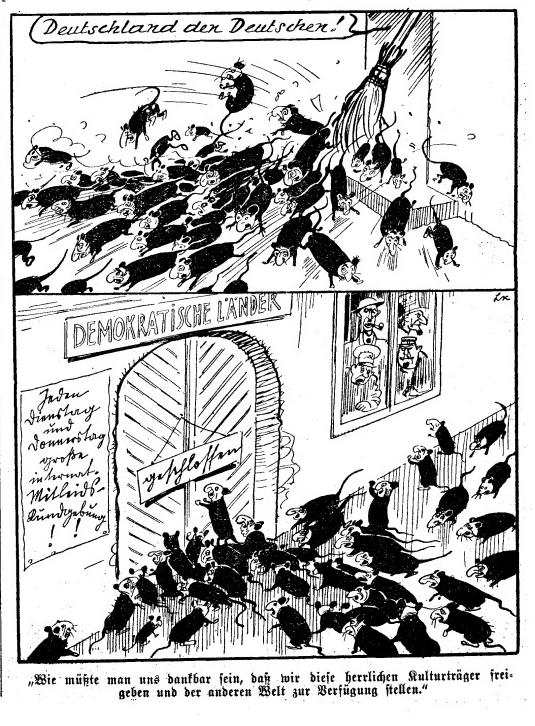 Racist cartoon from 1939 issue of Das Kleine Blatt (Source: Huffington Post)