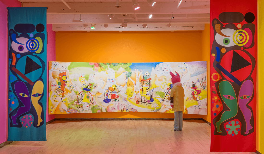 "Installation view of ""Ad Minoliti: Fantasias Modulares"" featuring ""Landscape"" (Source: Kaelan Burkett/MASS MoCA)"