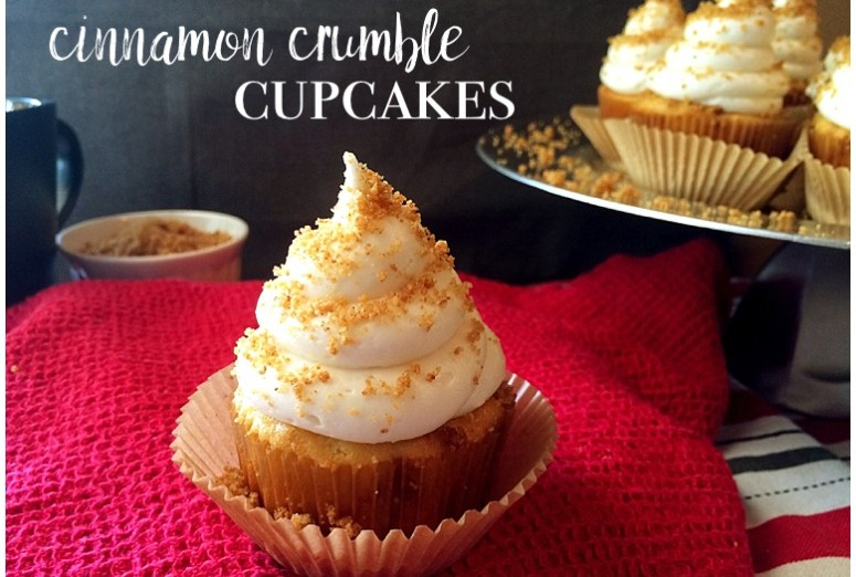 Cinnamon Crumble Cupcakes | cupcake recipe | cinnamon roll flavored cupcakes | Get the recipe for these amazing cinnamon-y, buttery, crumbly topped cupcakes on the Six Clever Sisters blog!