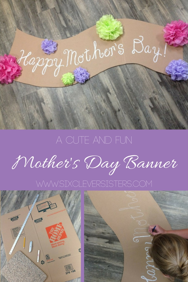 Mother's Day | Party | Cute Banner Idea | Mother's Day Decor | This easy to make banner adds a pretty festive look. Make it for Mother's Day or any other special holiday. It's cheap to make, too. Six Clever Sisters has an easy tutorial on making the banner as well as the tissue paper flowers.