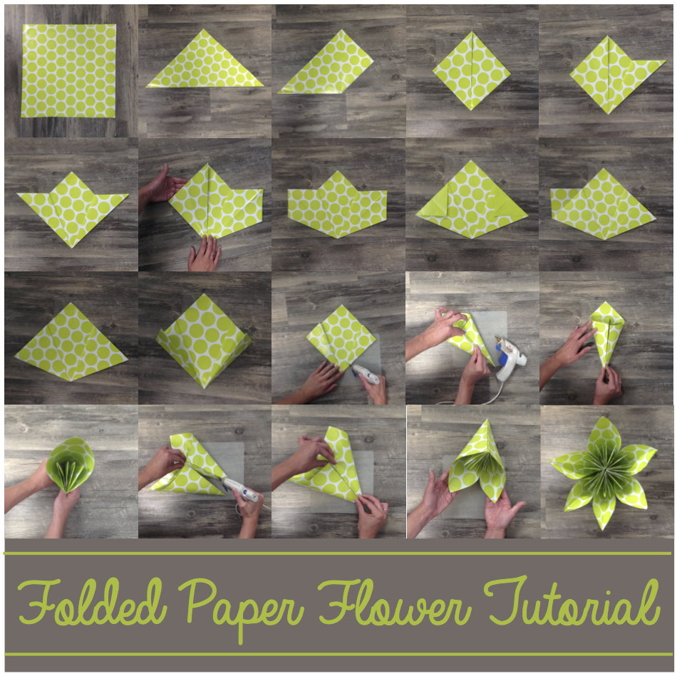 Paper Flower Origami | Folded Flower Tutorial | Origami Flower | Flower Party Decor These flowers can be made from scrapbook paper or wrapping paper to match your party or wedding decor. Simple and economical, and you can make them big or small for whatever you need them for! | Six Clever Sisters