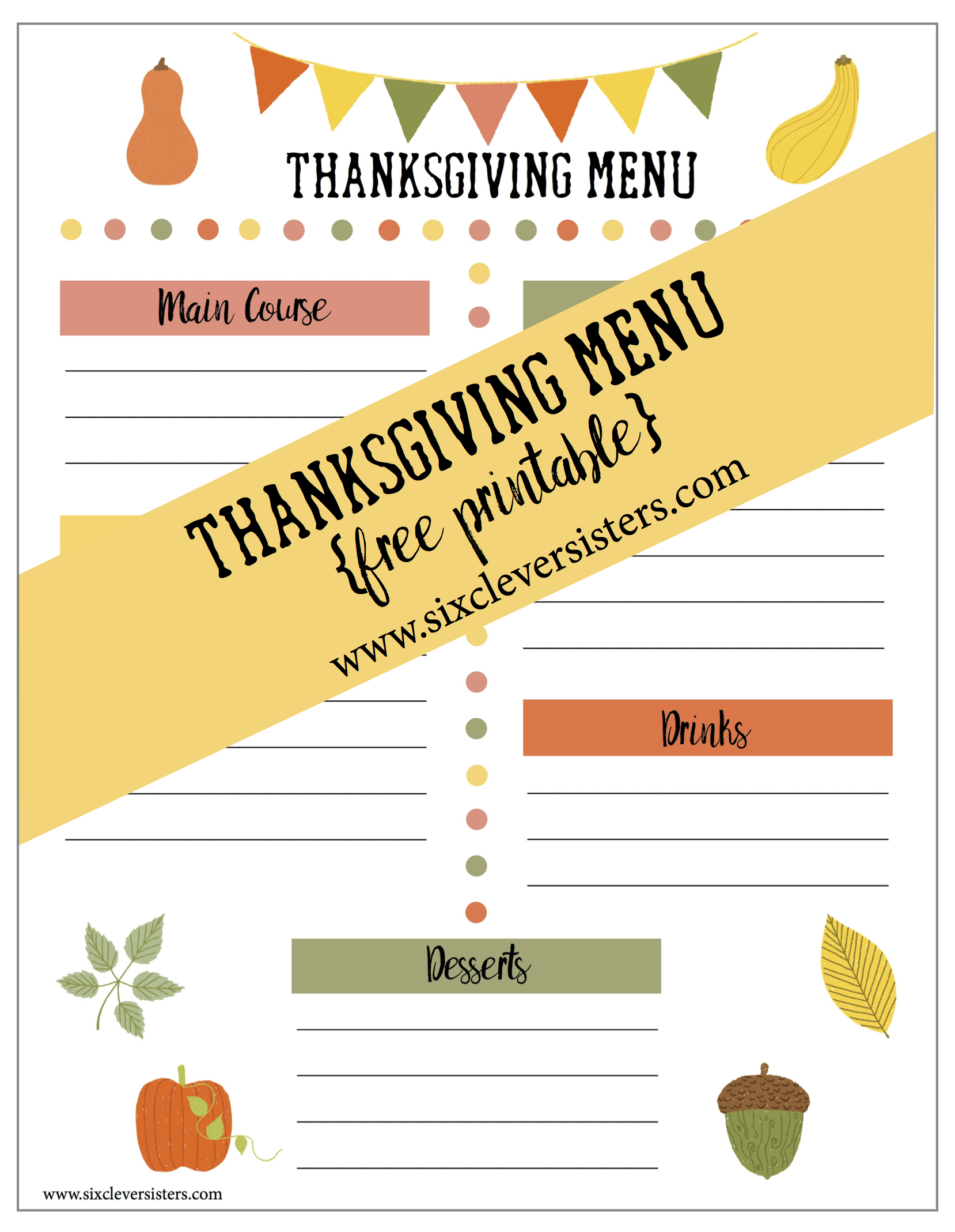 Printable Thanksgiving Menu And Shopping List Six Clever Sisters