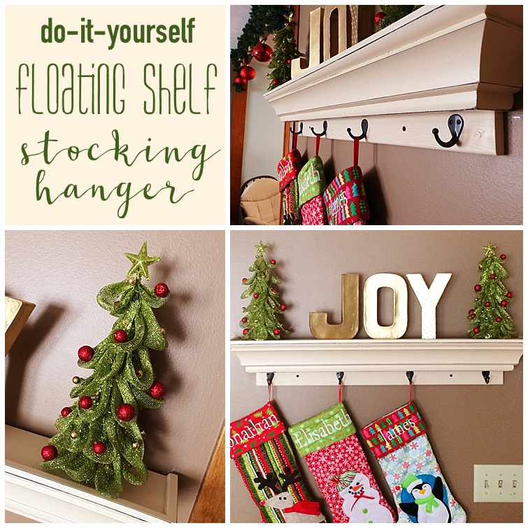 Diy floating shelf stocking hanger six clever sisters diy floating shelf stocking hanger solutioingenieria Image collections