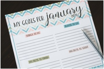 Monthly Goals Worksheet January 2017