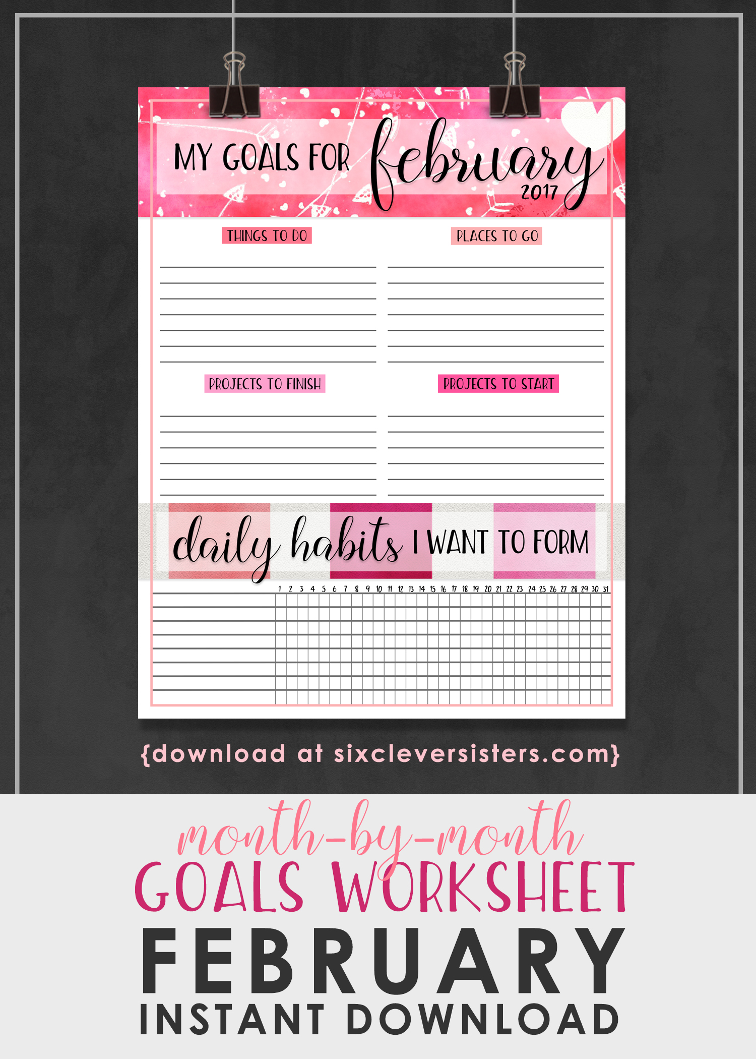 Goals Worksheet Free Printable February