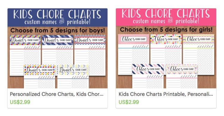 chore charts for kids templates