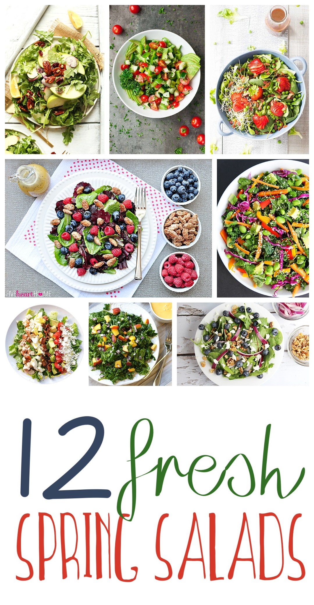Spring Salads | Salads | Salads Roundup | Healthy Eating | Clean Eating | The Six Clever Sisters blog has such a delicious collection of spring salad recipes! From blueberries to mint to peaches to arugula -- these salads have a lot of flavor!