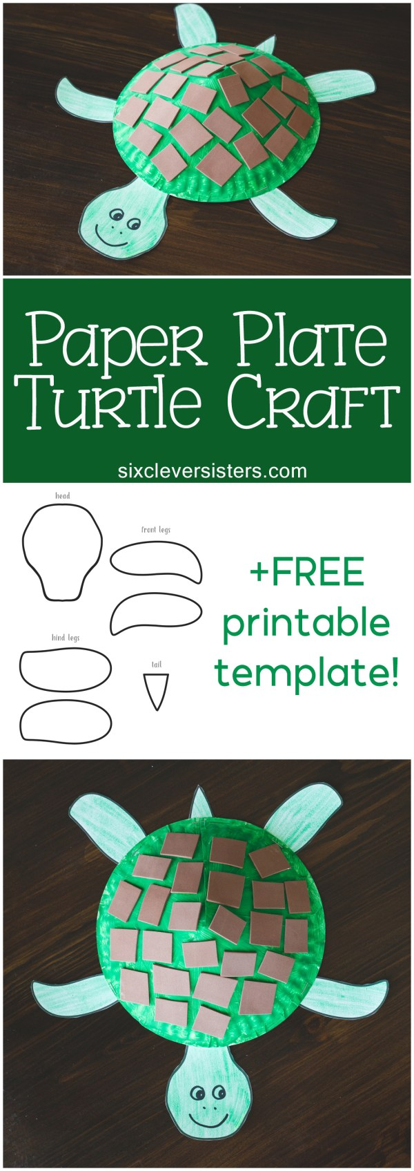 Paper Plate Craft   Turtle Craft   Paper Plate Turtle Craft   Kids Craft   Printable Kids Craft   Free Printable   Directions and free printable template for this fun Paper Plate Turtle Craft available on the Six Clever Sisters blog!