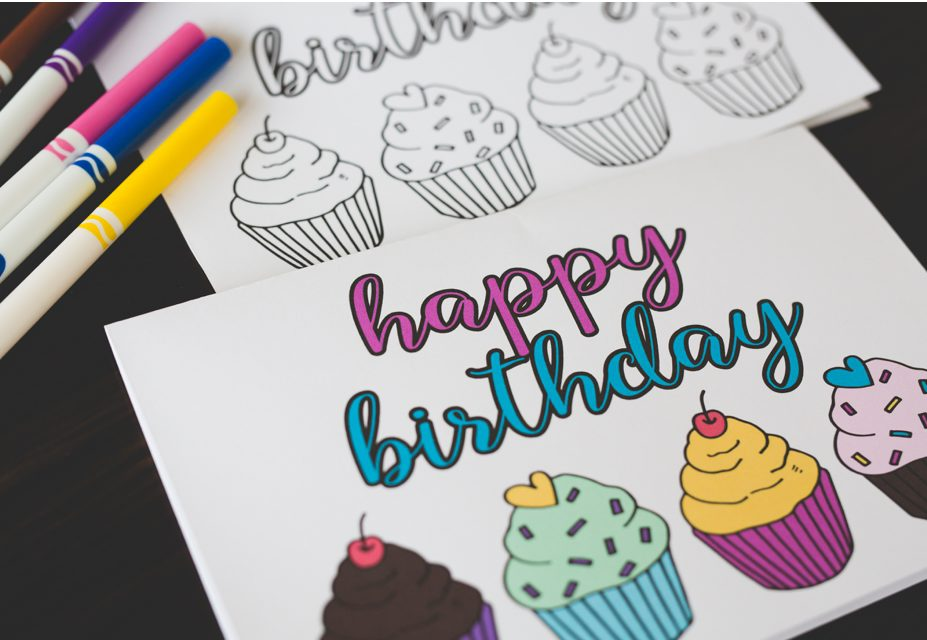 Free Printable Birthday Coloring Card 2 Six Clever Sisters