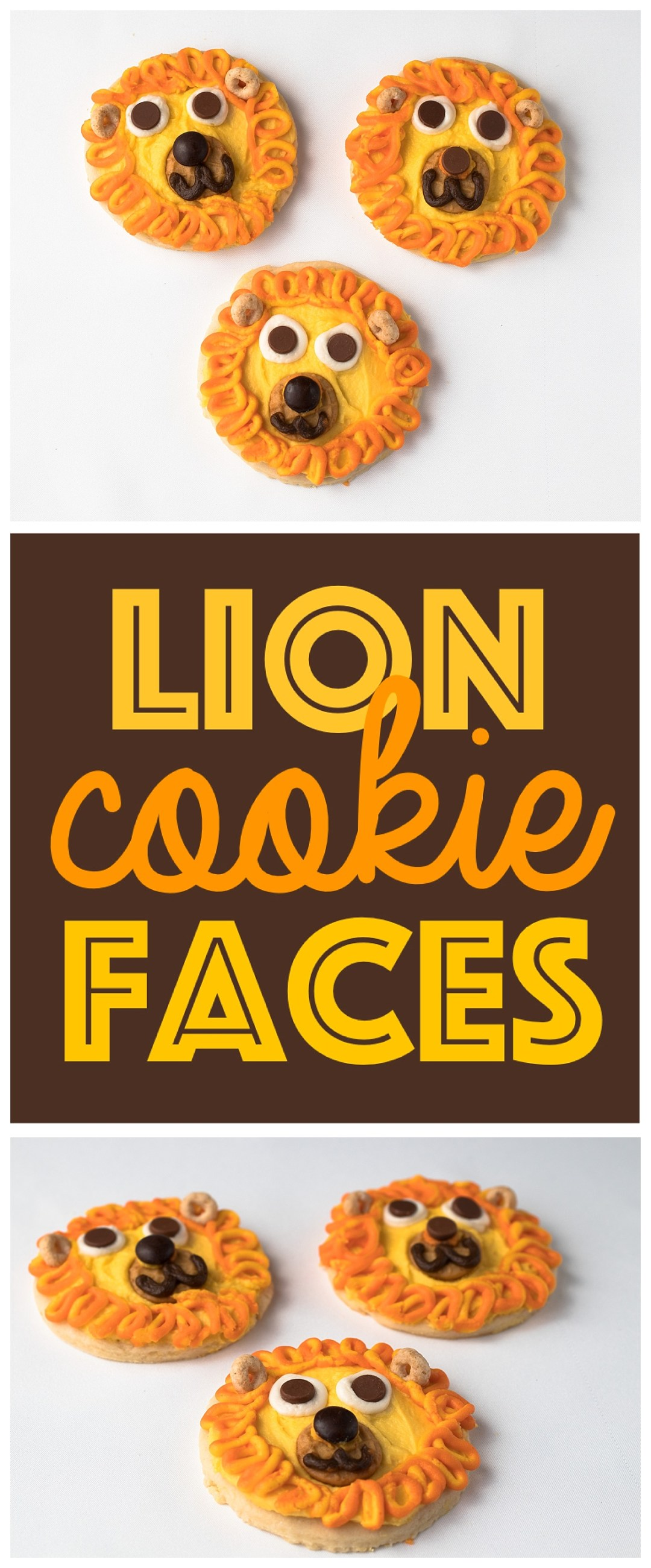 Animal Face Cookies | Kid Snack Ideas | Animal Faces | Fun Food Idea | Lion Face | Kid Party Food | Jungle Party | Safari Party | Kids Birthday Party | Six Clever Sisters