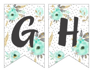 Free Printable Alphabet Banner {MINT& GOLD} - Six Clever ...