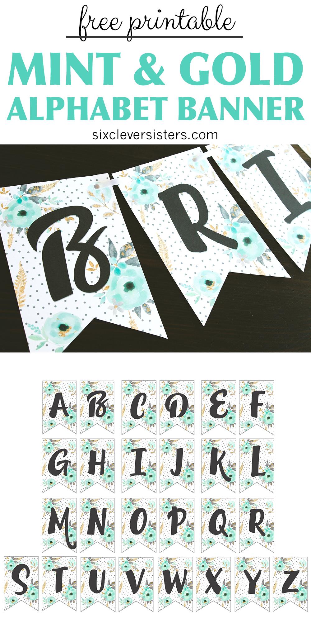 free printable alphabet banner  mint u0026 gold
