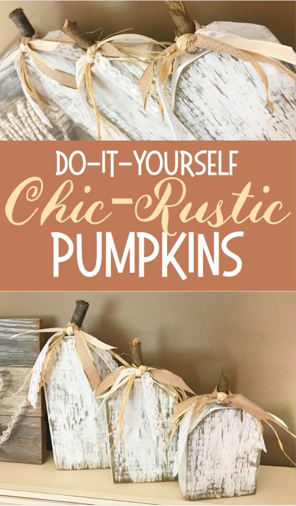 Chic-Rustic Pumpkin | Wood Pumpkin | Fall Decor | DIY Fall | Autumn | Fall Decor Ideas | DIY Pumpkin Decor | DIY Pumpkins | Shabby Chic | Farmhouse | Rustic | Home Decor | Home Decorating | Pumpkin Craft | Cream and Gold | Harvest | Wood | DIY Wood | Chic | Easy DIY Decor | Six Clever Sisters