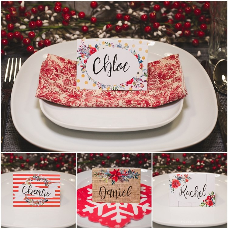 Christmas Table Place Cards | Christmas Name Place Cards | Christmas Table Decor | Christmas Table Settings | Christmas Table Name Tags Place Settings | Free printable table place cards for Christmas! 4 designs to download on the Six Clever Sisters blog.