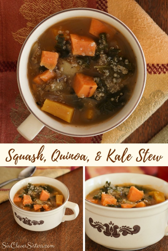 Quinoa Recipes Healthy | Quinoa | Stew Recipe | Quinoa Reicpes | Stew Recipes | Kale Recipes | Kale Soup | Visit SixCleversSisters.com for the recipe for this delicious and healthy stew!