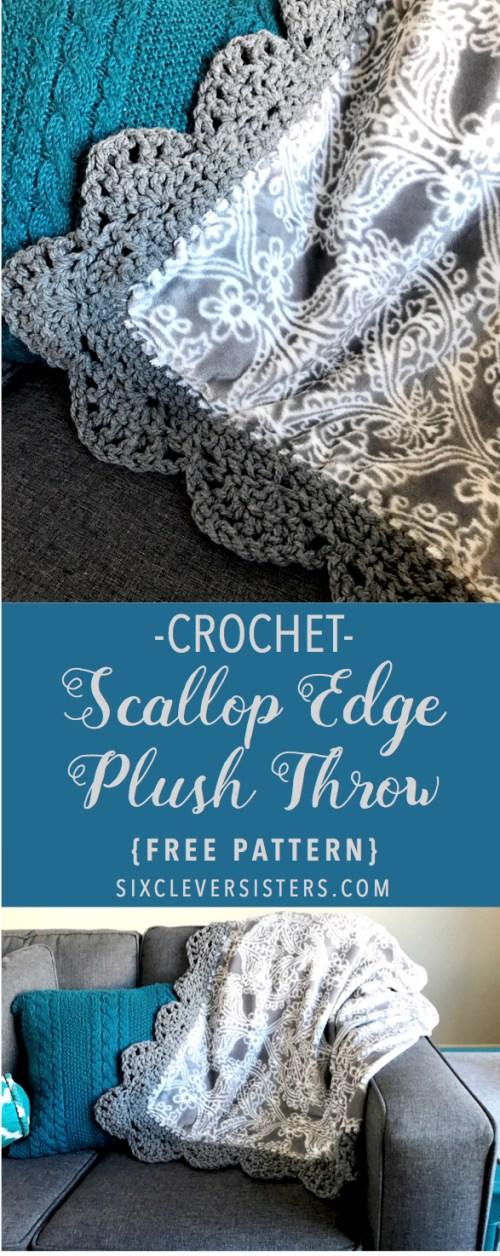 Crochet Pattern | Crochet Edge | Pattern | Scallop Edge | Free Pattern | Free Crochet Pattern | Afghan | Crochet Afghan | Crochet Throw | Crochet Patterns Free | Crochet Patterns Free Beginner | Crochet Patterns Free Blanket | Six Clever Sisters