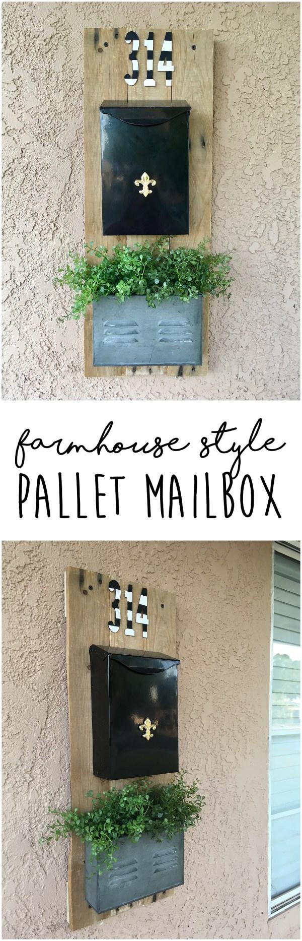DIY Farmhouse Mailbox | Farmhouse Decor | Pallet Projects | Pallet Furniture | Pallet Ideas | Wood Signs | Rustic Home Decor | Mailbox Ideas | Mailbox Makeover