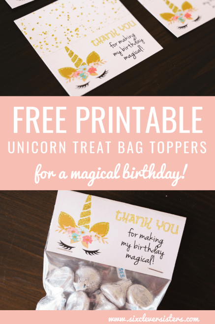 Unicorn Party   Unicorn Party Ideas   Unicorn Party Theme   Unicorn Party Decor   Unicorn Printable Free   Unicorn Printable Party   Unicorn Treat Bags   Unicorn Treat Bag Ideas   Unicorn Treat Bags DIY   Add a little sparkle to your unicorn party with these free treat bag printable. #unicorn #unicornparty #sixcleversisters