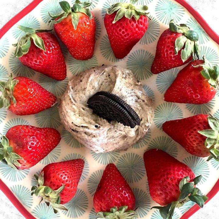 Oreo Cheesecake Dip with Fresh Strawberries