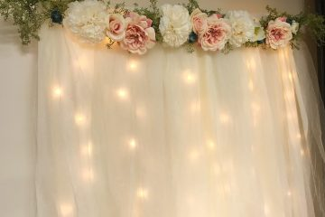 DIY Lit Tulle Backdrop   Bridal   Wedding   Bridal Shower   Wedding Shower   Photography Backdrop   Floral Decor   Backdrop   Background   Bride   Bride to Be   Wedding Shower Ideas   Shower on a Budget   Baby Shower   Simple Decorating Ideas   Easy Decor   Quick tutorial on Six Clever Sisters!