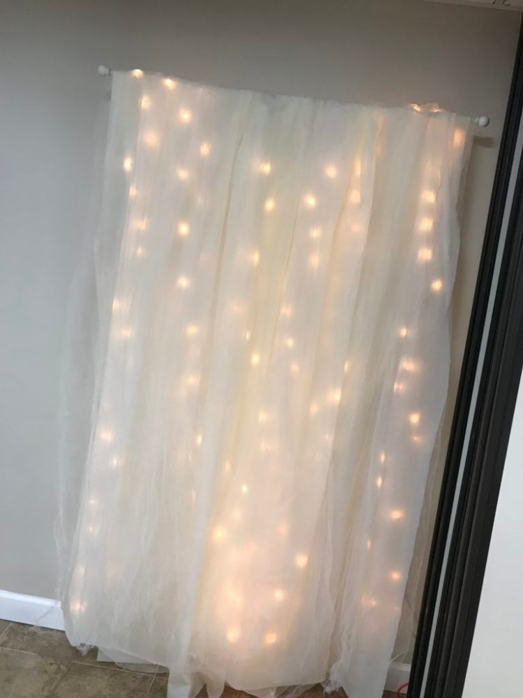 DIY Lit Tulle Backdrop | Bridal | Wedding | Bridal Shower | Wedding Shower | Photography Backdrop | Floral Decor | Backdrop | Background | Bride | Bride to Be | Wedding Shower Ideas | Shower on a Budget | Baby Shower | Simple Decorating Ideas | Easy Decor | Quick tutorial on Six Clever Sisters!