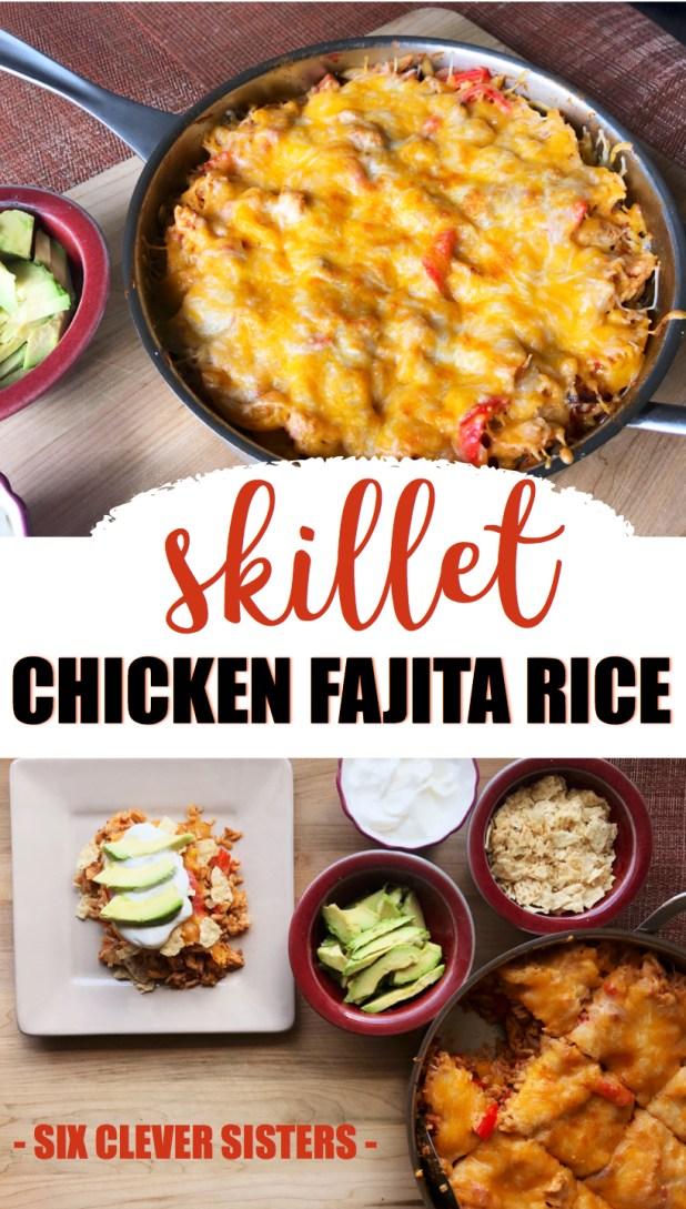Skillet Chicken Fajita Rice | fajita seasoning | fajita mix | fajita meat | fajita recipe | one dish meal | simple dinner | quick dinner | tex mex | quick dinner ideas | quick dinner recipes | rice | mexican | Recipe on Six Clever Sisters