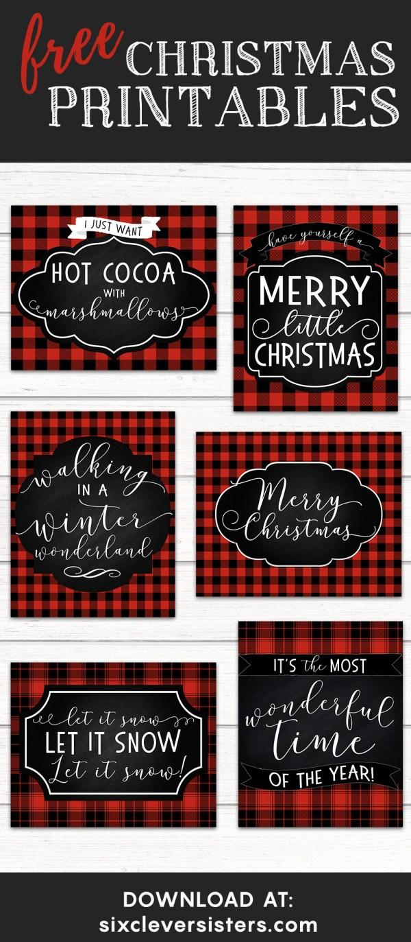 6 FREE Red Buffalo Plaid Check Christmas Printables - Six Clever Sisters