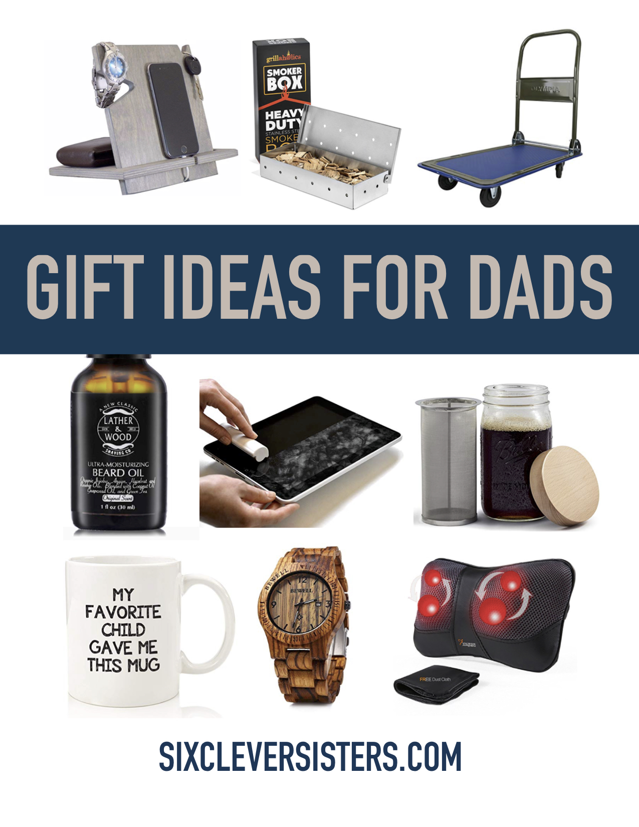 I think men are the hardest people to shop for! Girls are so much easier. There are a LOT of great gifts on Amazon for dad though.  sc 1 st  Six Clever Sisters & Dad Holiday Gift Guide - Find that Perfect Christmas Gift for Dads ...