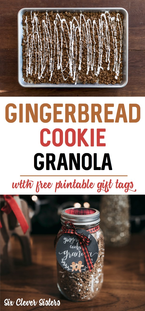 Gingerbread Granola | Gingerbread Granola Recipe | Gingerbread Granola Recipe Christmas | Granola Gingerbread Cookies | Holiday Granola Recipes | Christmas Granola Gift | Granola as Christmas Gift | Homemade Christmas Granola | Granola Recipe Homemade | Granola Recipe Homemade Easy | Great homemade holiday food treat for gifting! #gingerbread #treats #christmasgifts #sixcleversisters