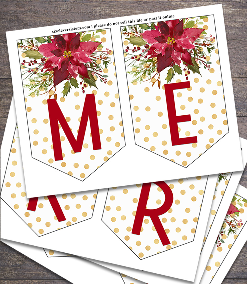 photograph regarding Merry Christmas Letters Printable titled Printable Xmas Banner - 6 Intelligent Sisters