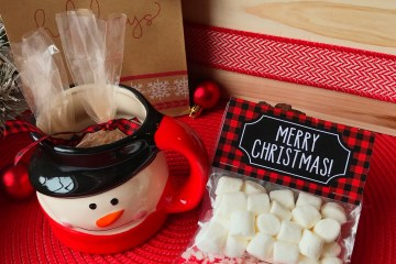 Hot Cocoa Gift | Hot Cocoa Gift DIY | Hot Cocoa Gift Ideas | Hot Cocoa Gift Ideas DIY | Hot Cocoa Gift Ideas for Kids | Homemade Hot Cocoa Gift | Hot Cocoa Gift Bags | Hot Cocoa Gift Last Minute | Hot Cocoa Gift Set | Hot Cocoa as a Gift | This little hot cocoa gift kit can be put together in minutes! #hotcocoa #sixcleversisters